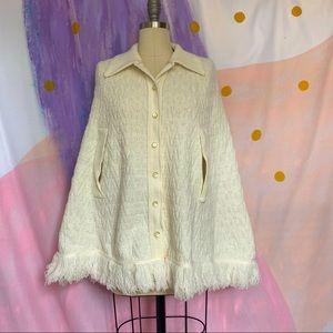 VINTAGE 1970s White Fringe Poncho Cape Sweater